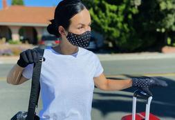 Women's Fashion Cotton Face Mask Gloves Set Travel Kit With