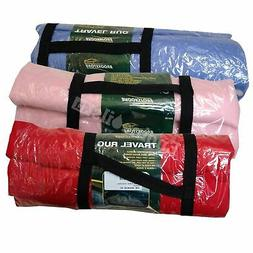 Travel Rug Fleece Portable Carry Camping Warm Soft Blanket W