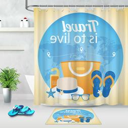 Tropical Beach Life Travel Shower Curtain Waterproof Fabric