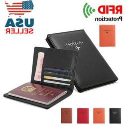 US Men's RFID Blocking Passport Travel Wallet Holder Leather