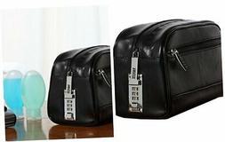 Vaultz Locking Leather Travel Kit, 5.75 x 5 x 10 Inches, Bla