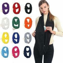 Women Scarf Portable Zipper Pocket Winter Soft Warm Travel
