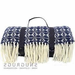 XL Waterproof 100% Wool Picnic Blanket / Travel  /Camping /B